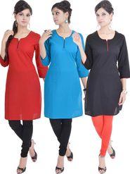 Pack of 3 Shop Rajasthan Printed Cotton Kurti -SREN9002