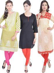 Pack of 3 Shop Rajasthan Printed Cotton Kurti -SREN9003