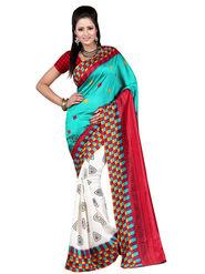 Carah Art Silk Printed Saree - Green And Red