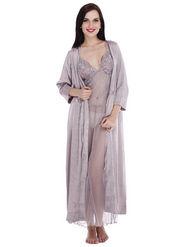 Set of 2 Clovia Blended Plain Nightwear - Silver