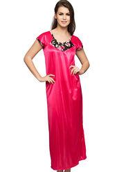 Clovia Satin Rich Plain Nightwear - Pink