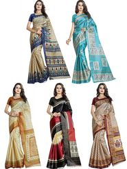 Pack of 5 Printed Taffeta Saree-swb26