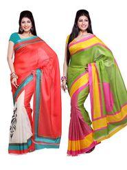 Combo of 2 Ishin Bhagalpuri Silk Printed Saree-Combo-288