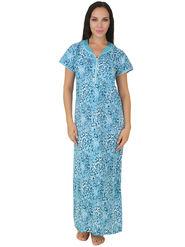 Fasense Shinker Cotton Printed Nightwear Long Nighty -DP158C1