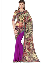 Designersareez Faux Georgette Digital Print Saree - Multicolor & Violet