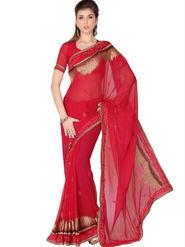 Designersareez Faux Georgette Embroidered Saree - Red - 1754