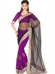 Designersareez Net & Faux Georgette Embroidered Saree - Black & Violet