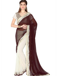 Designersareez Faux Georgette Embroidered Saree - Coffee & White