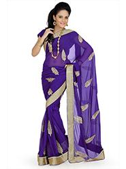 Embroidered Faux Georgette Saree - Purple-690