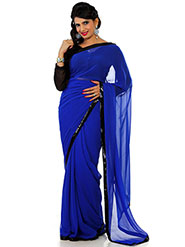 Designer Sareez Plain Faux Georgette Saree - Blue-1445