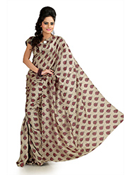 Printed Khadi Silk Saree - Beige-993