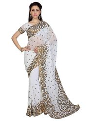 Designer Sareez Faux Georgette Embroidered Saree - White - 1585