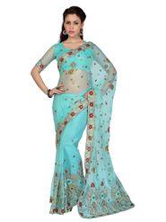 Designer Sareez Net Embroidered Saree - Sky Blue - 1589