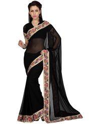 Designer Sareez Faux Georgette Printed Saree - Black - 1607