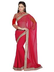 Designer Sareez Faux Georgette Embroidered Saree - Red - 1635