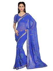 Designer Sareez Faux Georgette Embroidered Saree - Light Blue - 1652