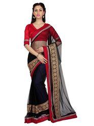 Designer Sareez Net Embroidered Saree - Black - 1668