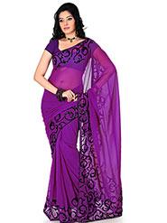 Designer Sareez Embroidered Faux Georgette Saree - Purple-1167