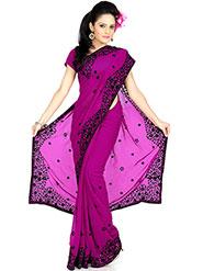 Designer Sareez Embroidered Faux Georgette Saree - Deep Pink