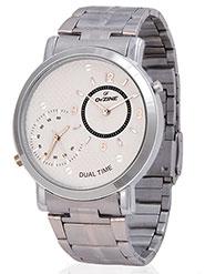 Dezine Wrist Watch for Men - Off White_DZ-GR030-slv-CH