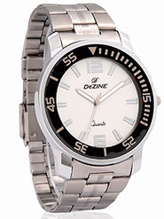 Dezine Wrist Watch for Men - Cream_DZ-GR050-WHT-CH