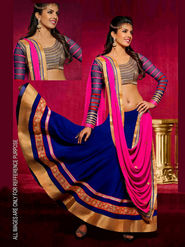 Ethnic Trend Georgette Embroidered Lehenga - Multicolour - 5359