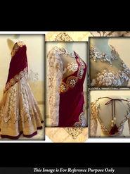 Ethnic Trend Net Embroidered Lehenga - Beige and Maroon - 5367