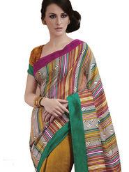 Ethnic Trend Cotton Printed Saree - Multicolour - 10047