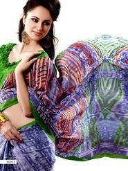 Ethnic Trend Chiffon Printed Saree - Multicolour - 11017