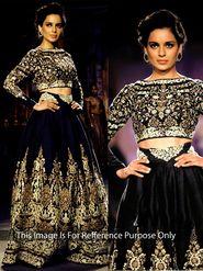 Ethnic Trend Net - Moss Velvet Embroidered Lehenga - Black