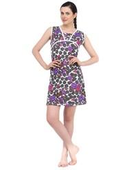 Fasense Cotton Nightwear - White & Purple-DP038 B