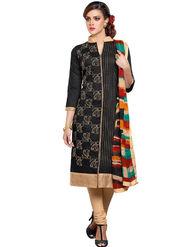 Fabfiza Embroidered Cotton Semi Stitched Salwar Suit_FB-5084