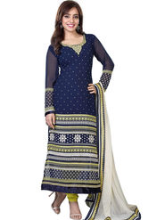 Fabfiza Embroidered Georgette Semi Stitched Dress Material_FB-6577