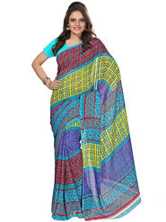 Florence Faux Georgette  Printed  Sarees FL-3171-A