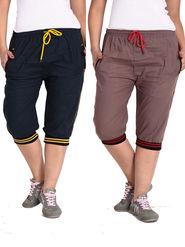 Combo of 2 Comfort Fit Cotton Capris for Women_pf04
