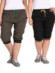 Combo of 2 Comfort Fit Cotton Capris for Women_pf06