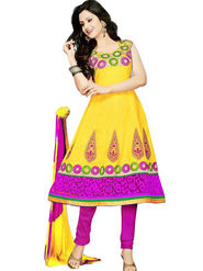 Florence Combric Cotton Embroidered Semi Stitched Anarkali Suits - Yellow - SB-2081