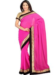 Florence Chiffon Emboridered  Saree - Pink