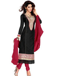 Florence Cambric Cotton Embroidered Dress Material - Black - SB-1777