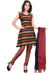 Florence Cotton Printed Dress Material - Red & Black - SB-2762