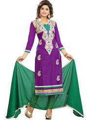 Florence Cotton Embroidered Dress Material - Purple - SB-2792