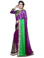 Khushali Fashion Embroidered Georgette Half & Half Saree_KF49