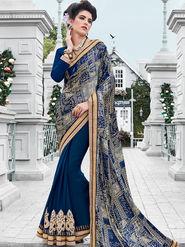 Indian Women Embroidered Satin & Georgette Violet Designer Saree -IC11341