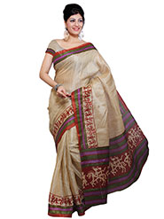Ishin Printed Bhagalpuri Silk Saree - Beige-ISHIN-978