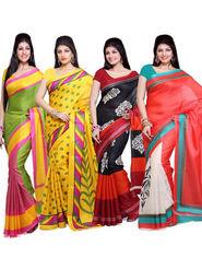 Combo Of 4 ISHIN Bhagalpuri Silk Printed Saree