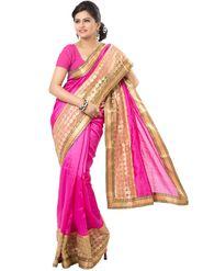 Ishin Georgette Embroidered Saree - Pink - ISHIN-2381