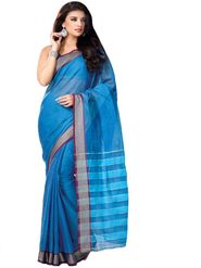 Ishin Cotton Plain Saree - Blue - MFCS-Gayatri