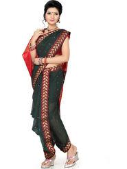 Ishin Cotton Printed Nauvari Saree - Green - SNGM-1881