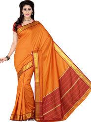 Ishin Polyester Printed Saree - Orange - STCS-2133