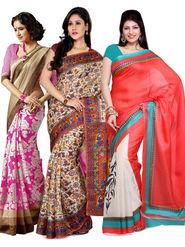 Combo of 3 Ishin Bhagalpuri Silk Printed Saree - Combo-383